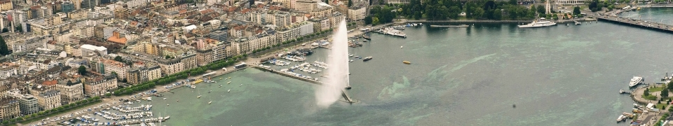 Aerial view of the City of Geneva with the Lake Fountain.